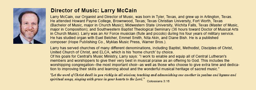 Director of Music, Larry McCain