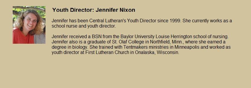 Youth Worker, Jennifer Nixon